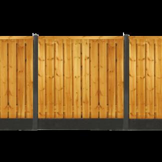 Geïmpregneerd grenen schutting |Glad beton antraciet
