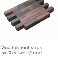 waalformaat strak 5x20x6 zwart rood