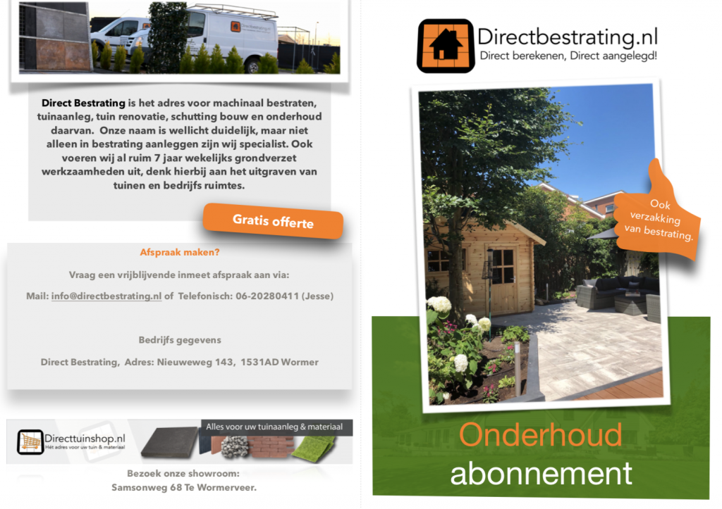Brochure Direct bestrating onderhoud