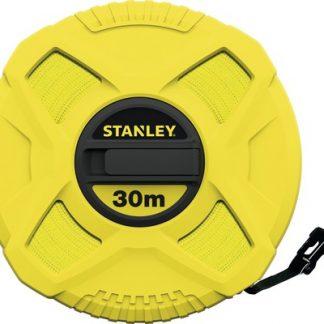 Stanley landmeter 30 meter van glasfiber in gesloten ABS behuizing met opklapbare slinger.